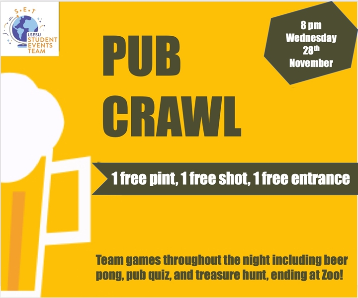 //CANCELLED// Pub Crawl- brought to you by SET