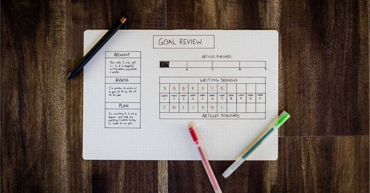 Image of goal planner with pens on top